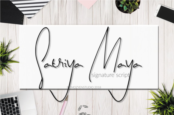Print on Demand: Satriya Maya Script & Handwritten Font By mozyenstudio