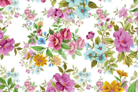 Print on Demand: Seamless Floral Pattern Gráfico Moldes Por iop_micro