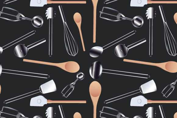 Print on Demand: Seamless Kitchen Cookware Realistic Vector Graphic Patterns By iop_micro