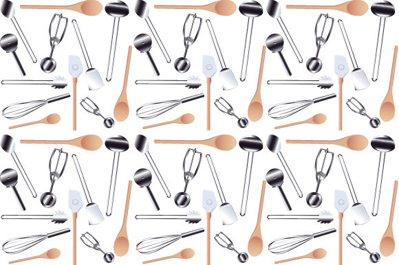 Print on Demand: Seamless Kitchen Tools Graphic Patterns By iop_micro
