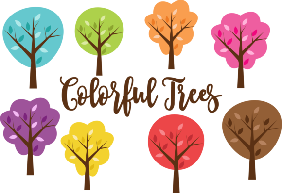 Print on Demand: Set of 8 Colorful Trees Graphic Illustrations By sonyadehart