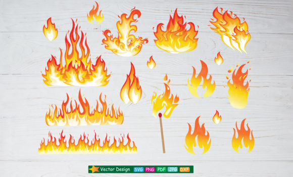 Print on Demand: Set of Fire Flames SVG Cliparts Graphic Objects By Amitta