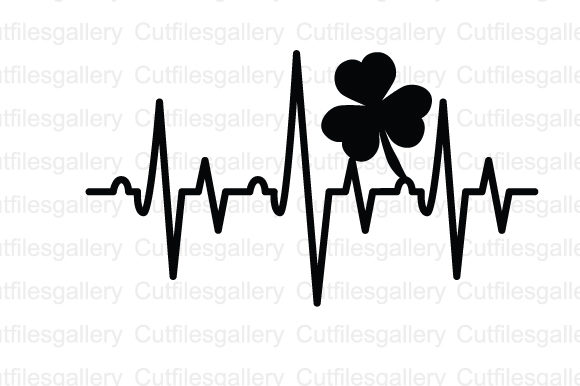 Download Free Shamrock Heartbeat Graphic By Cutfilesgallery Creative Fabrica for Cricut Explore, Silhouette and other cutting machines.