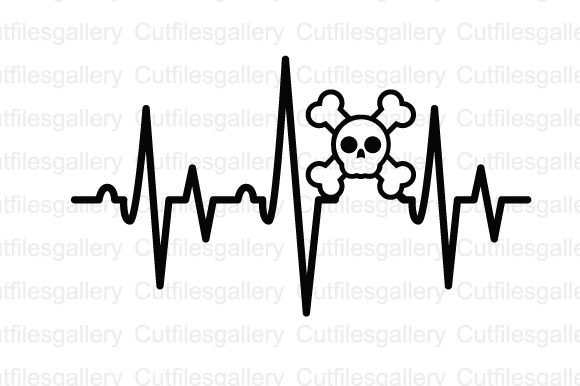 Download Free Skull Pirate Heartbeat Svg Graphic By Cutfilesgallery Creative for Cricut Explore, Silhouette and other cutting machines.