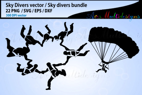 Sky Divers SVG Silhouette Bundle, Skydivers SVG Bundle Graphic By Arcs Multidesigns Image 2