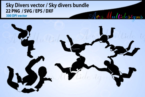 Sky Divers SVG Silhouette Bundle, Skydivers SVG Bundle Graphic By Arcs Multidesigns Image 3