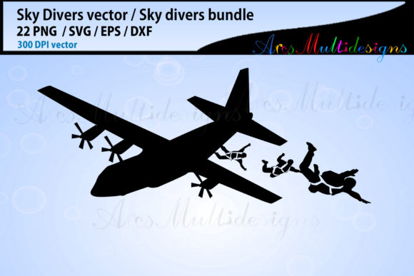 Sky Divers SVG Silhouette Bundle, Skydivers SVG Bundle Graphic By Arcs Multidesigns Image 4