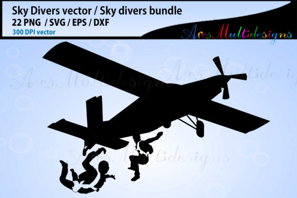 Download Free Sky Divers Silhouette Bundle Skydivers Bundle Graphic By Arcs for Cricut Explore, Silhouette and other cutting machines.