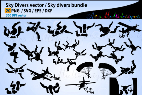 Sky Divers SVG Silhouette Bundle, Skydivers SVG Bundle Graphic By Arcs Multidesigns Image 1