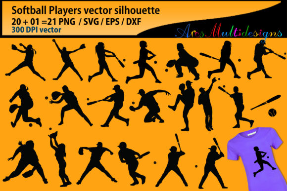 Softball Svg Silhouette Graphic By Arcs Multidesigns Image 1