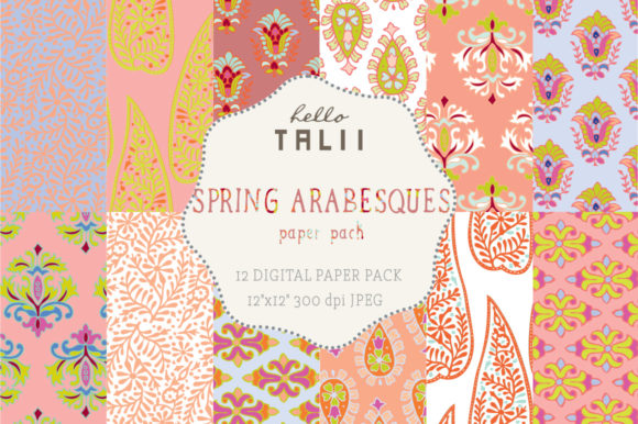 Spring Arabesques Digital Paper Graphic Patterns By Hello Talii