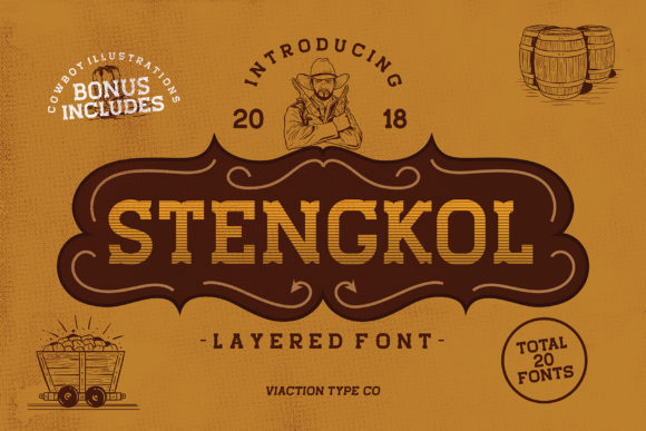 Print on Demand: Stengkol Slab Serif Font By Viaction Type.Co - Image 1