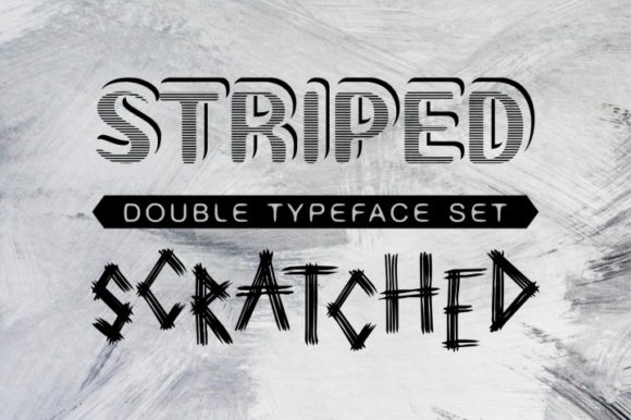 Print on Demand: Striped and Scratched Display Font By bywahtung