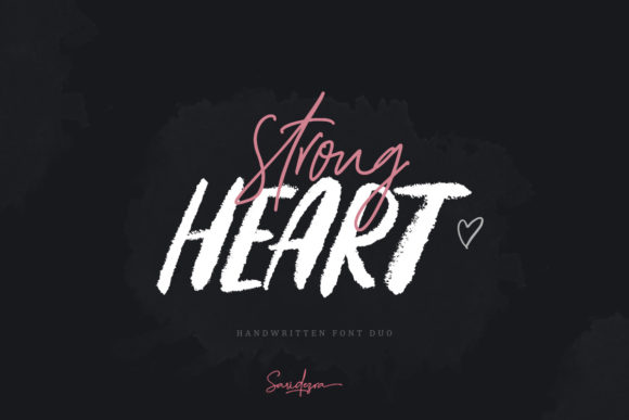 Print on Demand: Strong Heart Duo Script & Handwritten Font By saridezra