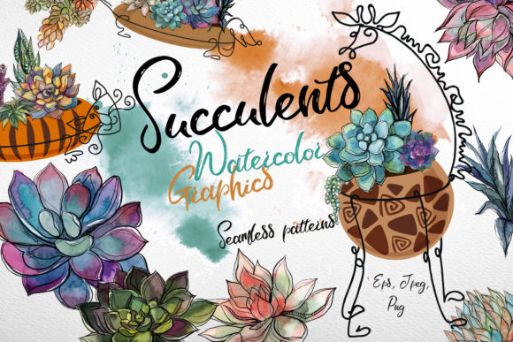 Succulents Watercolor Graphics Graphic Illustrations By grigaola
