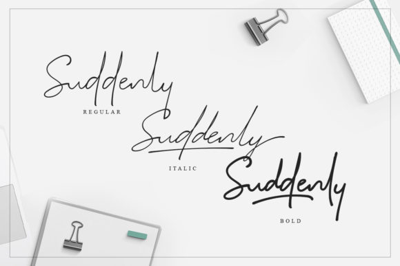 Print on Demand: Suddenly Family Script & Handwritten Font By saridezra - Image 10