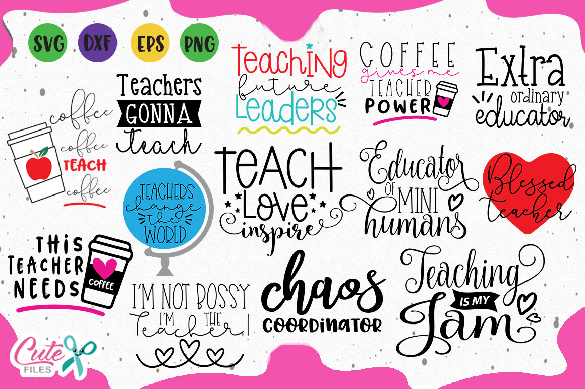 Download Free Teaching Saying Bundle Graphic By Cute Files Creative Fabrica for Cricut Explore, Silhouette and other cutting machines.