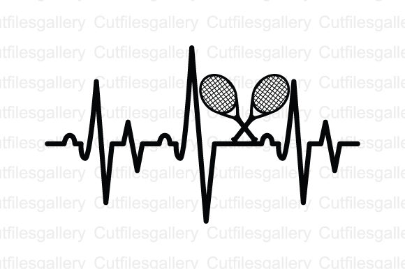 Download Free Tennis Heartbeat Graphic By Cutfilesgallery Creative Fabrica for Cricut Explore, Silhouette and other cutting machines.