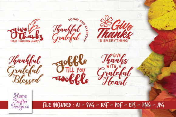 Download Free Thanksgiving Bundle Graphic By Home Crafter Design Co Creative for Cricut Explore, Silhouette and other cutting machines.