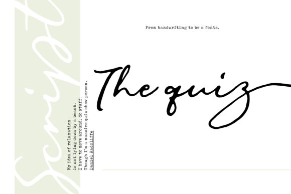 Print on Demand: The Quiz Script Script & Handwritten Font By SiwoxS