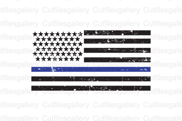 Thin Blue Line Distressed Flag Svg Graphic By Cutfilesgallery
