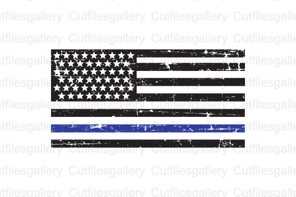 Download Free Thin Blue Line Distressed Flag Svg Grafik Von Cutfilesgallery SVG Cut Files