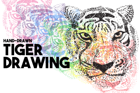 Print on Demand: Tiger Halftone Graphic Illustrations By lf_designs