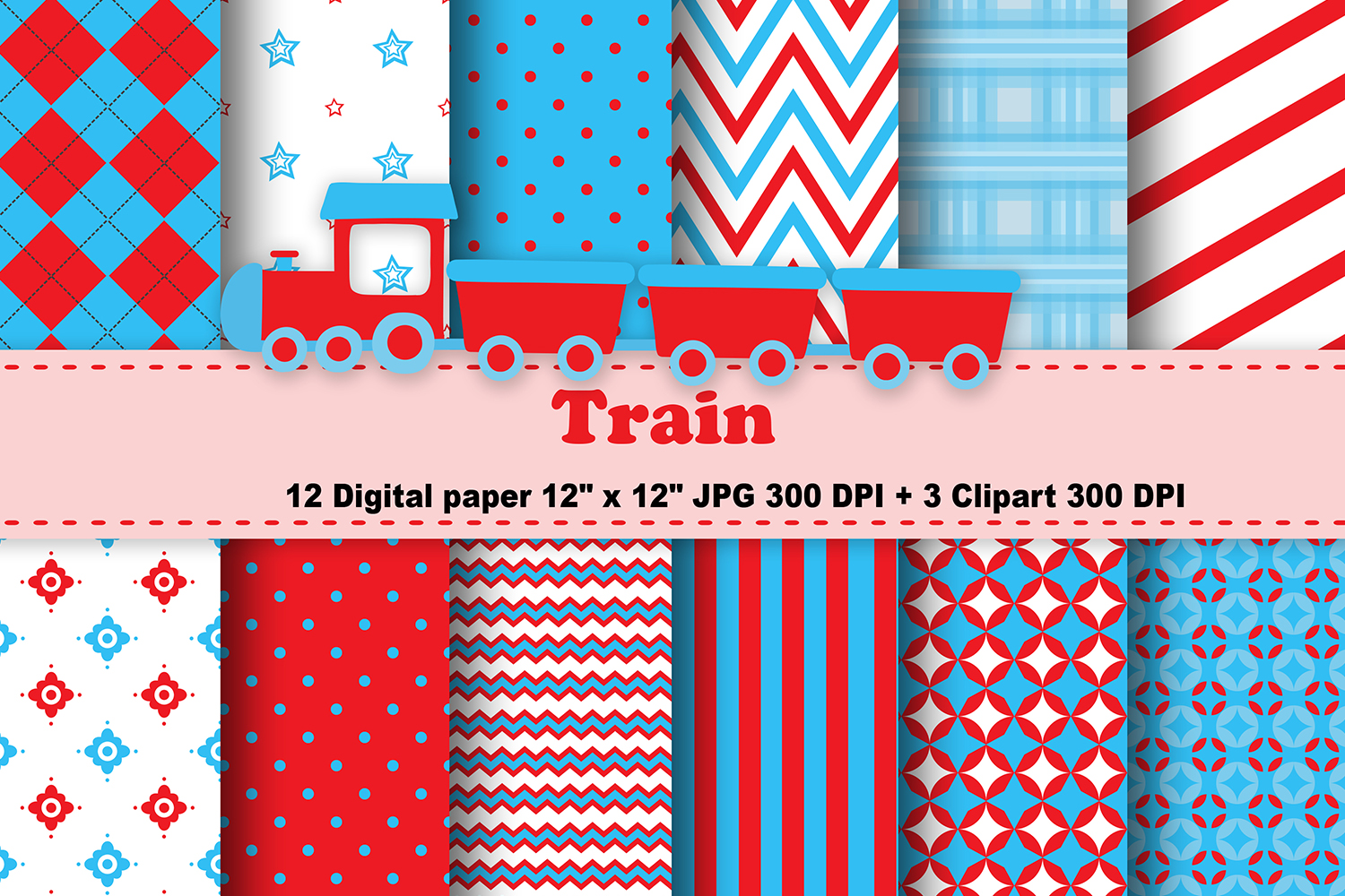 Download Free Train Digital Paper Graphic By Cosmosfineart Creative Fabrica for Cricut Explore, Silhouette and other cutting machines.