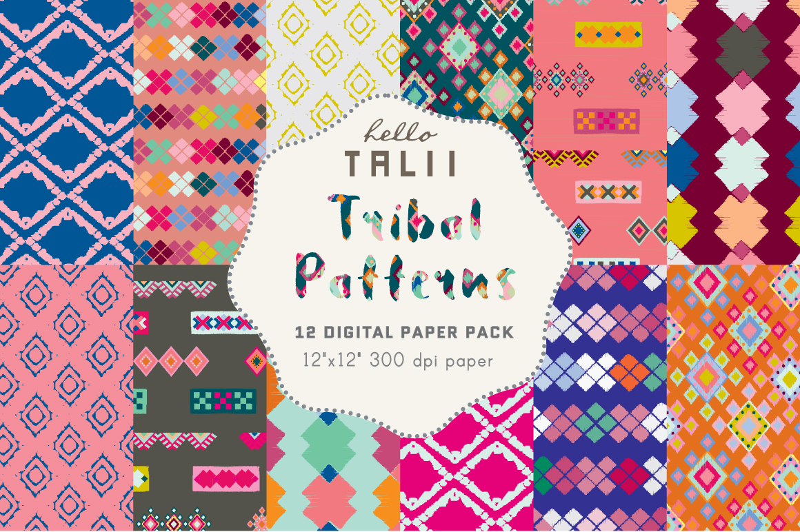 Download Free Tribal Digital Paper Graphic By Hello Talii Creative Fabrica for Cricut Explore, Silhouette and other cutting machines.