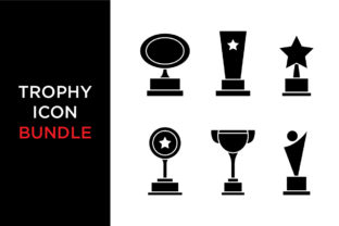 Download Free Trophy Icon Set Bundle Graphic By Kanggraphic Creative Fabrica for Cricut Explore, Silhouette and other cutting machines.