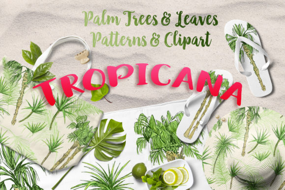 Download Free Tropicana Palm Trees Leaves Set Graphic By Ilonitta R for Cricut Explore, Silhouette and other cutting machines.