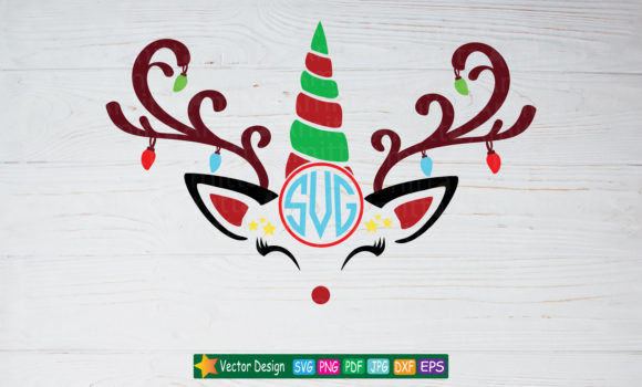 Download Free Unicorn Reindeer Cut File Graphic By Amitta Creative Fabrica for Cricut Explore, Silhouette and other cutting machines.