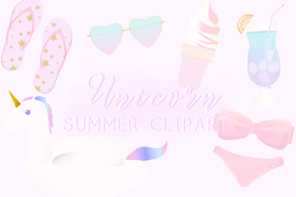 Download Free Unicorn Summer Clipart Graphic By Lilyuri0205 Creative Fabrica for Cricut Explore, Silhouette and other cutting machines.