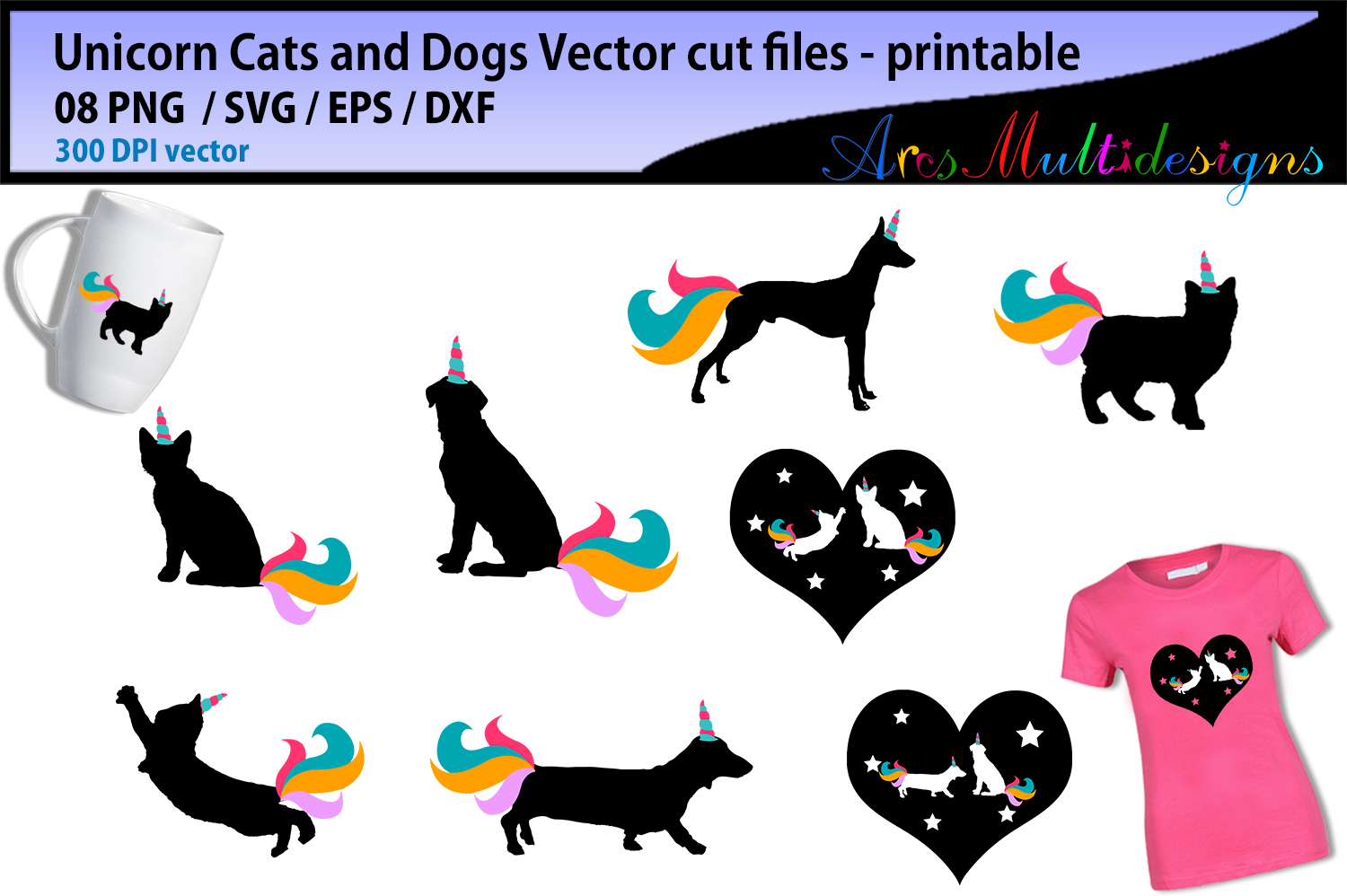 Unicorn Cats Dogs Graphic By Arcs Multidesigns Creative Fabrica