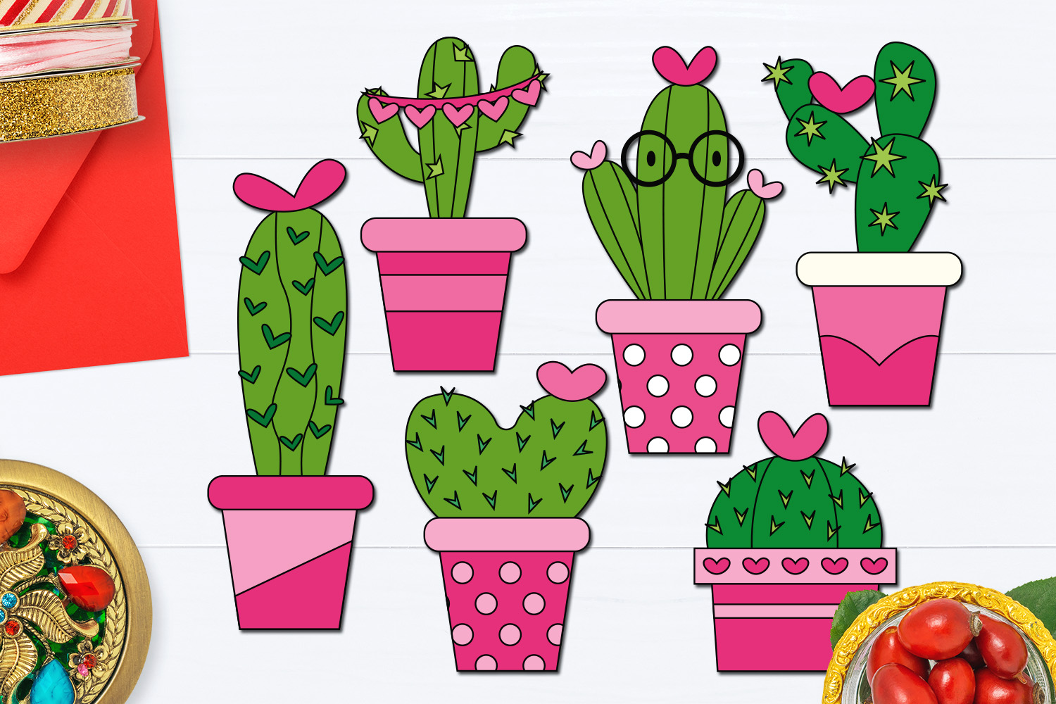 Download Free Valentine Cactus Graphic By Darrakadisha Creative Fabrica for Cricut Explore, Silhouette and other cutting machines.