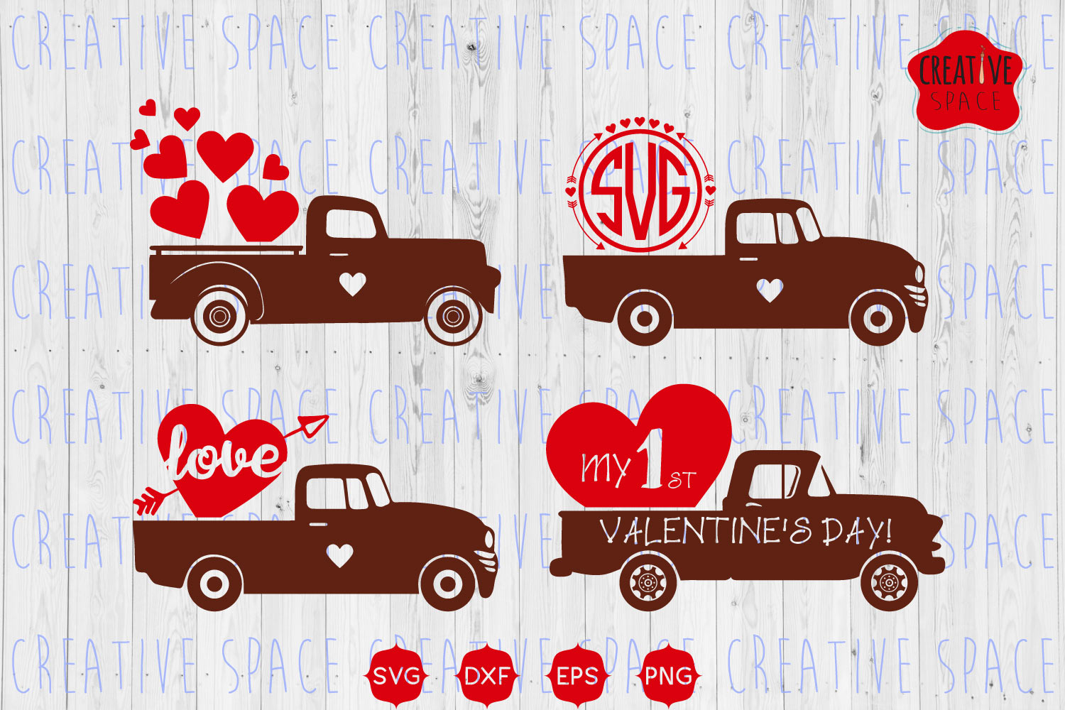 Download Free Valentine Truck Graphic By Creativespace Creative Fabrica for Cricut Explore, Silhouette and other cutting machines.