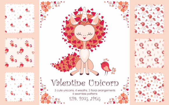 Print on Demand: Valentine Unicorn Graphic Illustrations By Olga Belova - Image 1