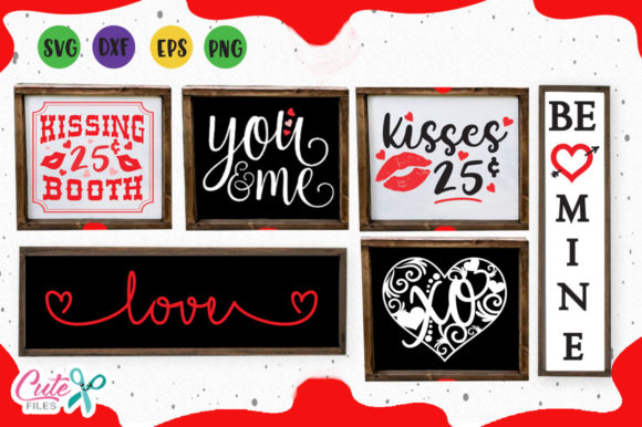 Download Free Valentine Wood Signs Svg Graphic By Cute Files Creative Fabrica for Cricut Explore, Silhouette and other cutting machines.