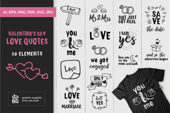 Valentine S Day Love Quotes Svg Graphic By Duka Creative Fabrica