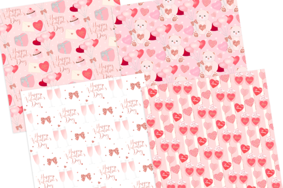 Print on Demand: Valentine's Day Seamless Pattern Digital Papers Graphic Patterns By lilyuri0205 - Image 2