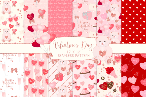 Print on Demand: Valentine's Day Seamless Pattern Digital Papers Graphic Patterns By lilyuri0205