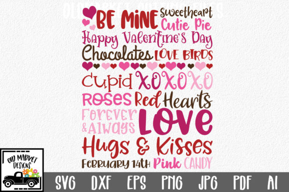 Download Free Valentine S Day Subway Art Svg Graphic By Oldmarketdesigns for Cricut Explore, Silhouette and other cutting machines.