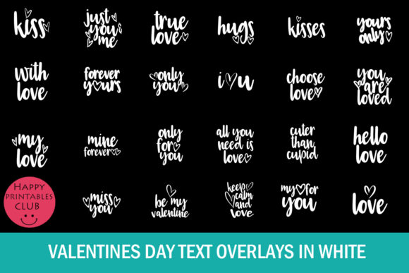 Print on Demand: Valentines Day Text Overlays Graphic Illustrations By Happy Printables Club - Image 3