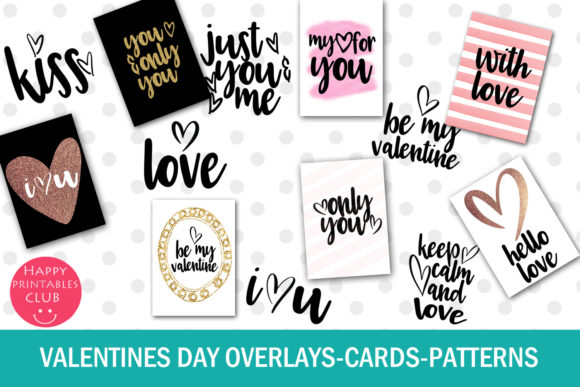 Print on Demand: Valentines Day Text Overlays Graphic Illustrations By Happy Printables Club