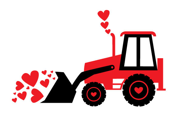 Valentine's Tractor Clearing a Lot of Hearts Valentine's Day Craft Cut File By Creative Fabrica Crafts