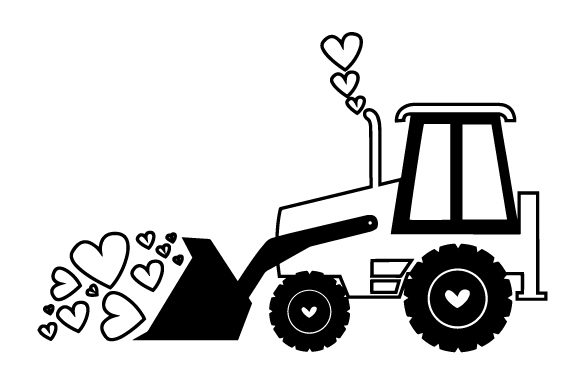 Valentine's Tractor Clearing a Lot of Hearts Cut File Download
