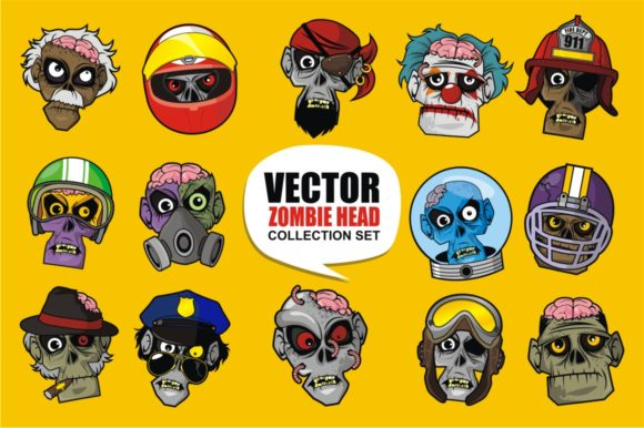 Print on Demand: Vector Zombie Head Collection Set Graphic Illustrations By azkaryzki