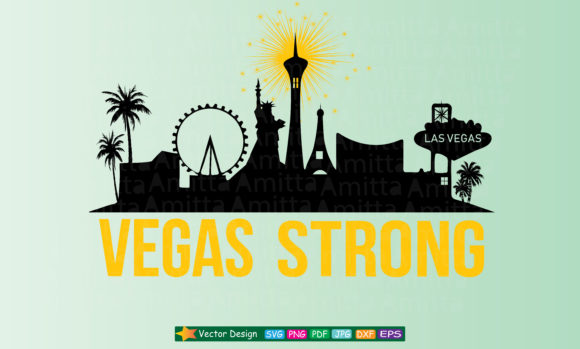 Download Free Vegas Strong Cityscape Art Graphic By Amitta Creative Fabrica for Cricut Explore, Silhouette and other cutting machines.