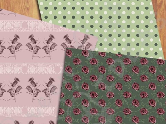 Vintage Floral Digital Papers Graphic Patterns By GreenLightIdeas - Image 3