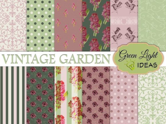 Vintage Floral Digital Papers Graphic Patterns By GreenLightIdeas